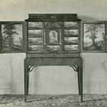 """The 17th Century Flemish Painted Cabinet and Two of the """"Chinese Chippendale"""" Chairs."""