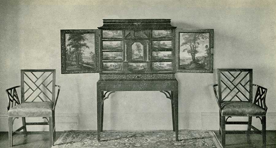 "The 17th Century Flemish Painted Cabinet and Two of the ""Chinese Chippendale"" Chairs."