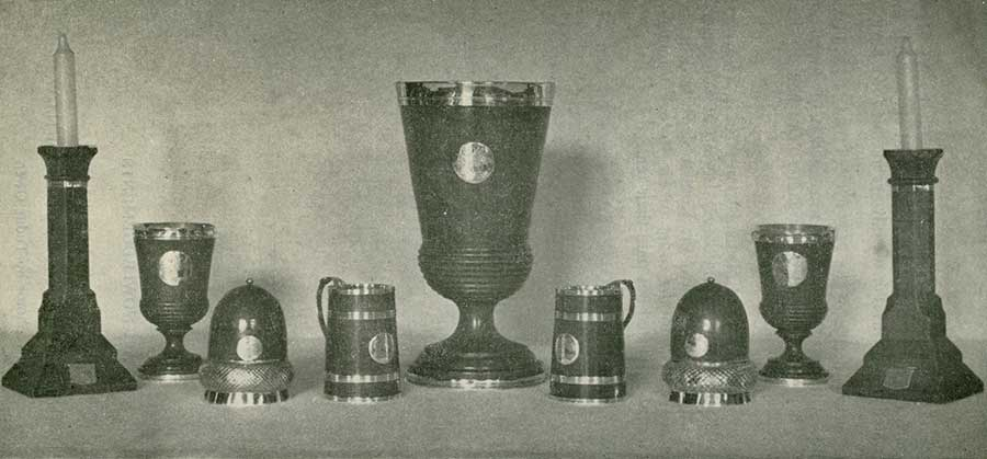 "Two of the Candlesticks and Some of the ""Ceubren Cups"" made from Howell Sele's Oak Tree."