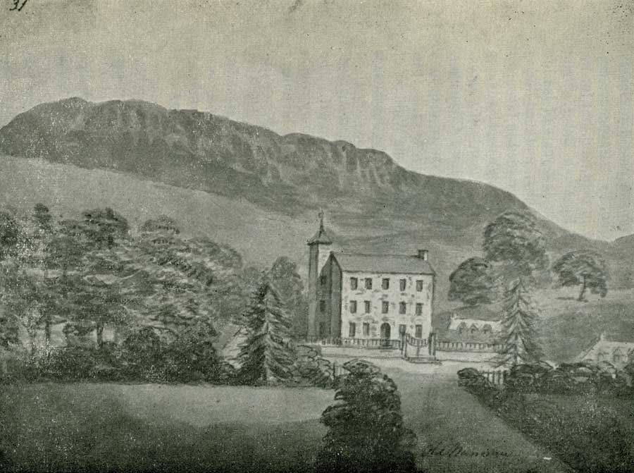 """OLD NANNAU"" (From a sketch by Moses Griffiths in the National Library of Wales). Built by Colonel Hugh Nanney c.1697."