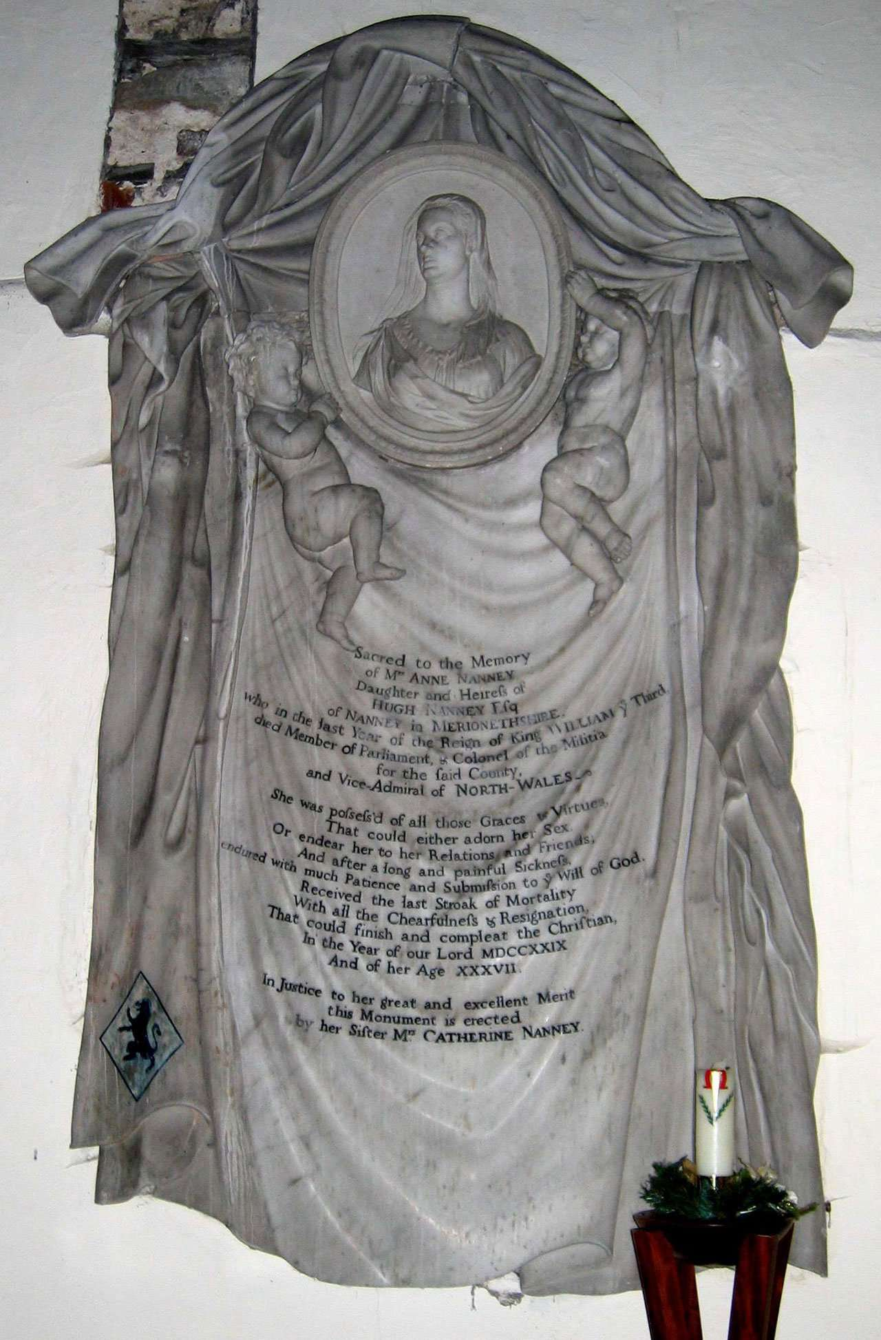 Anne Nanney Memorial in Llanfachreth Church - Photo Courtesy of David Brown