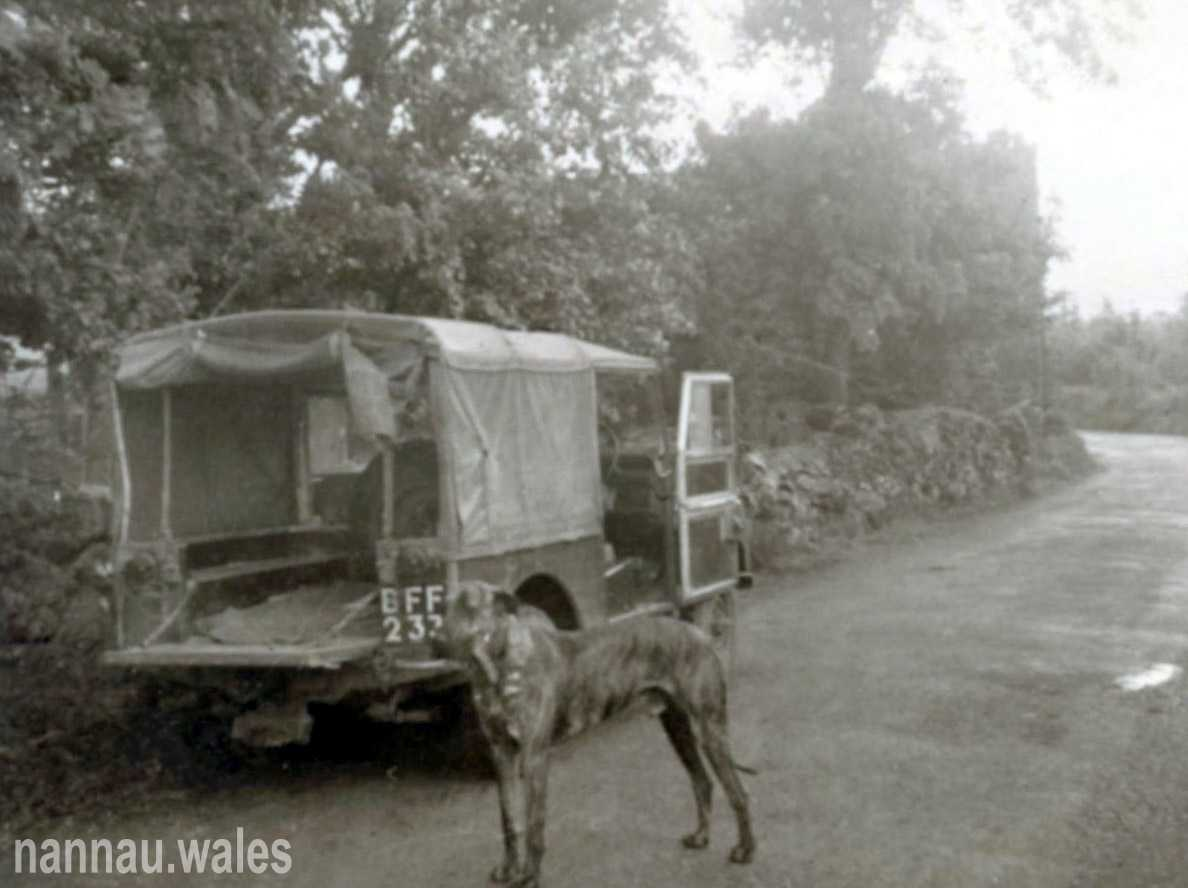 Brigadier C.H.V. Pritchard Vaughan's Land Rover and Sancho. Photo courtesy of Philip Nanney Williams