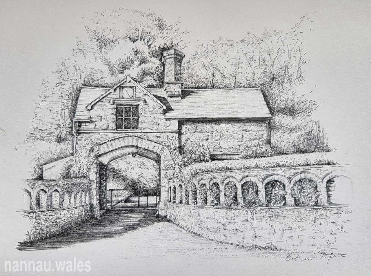 Coed y Moch Lodge (Drawing by Bethan Rowlands Wiffen)