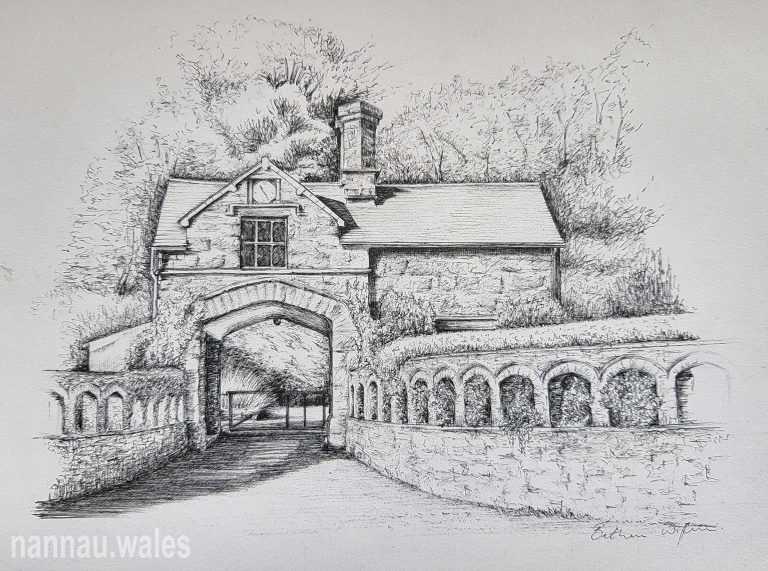 Coed y Moch Lodge (Drawing by Bethan Rowlands Wiffen)