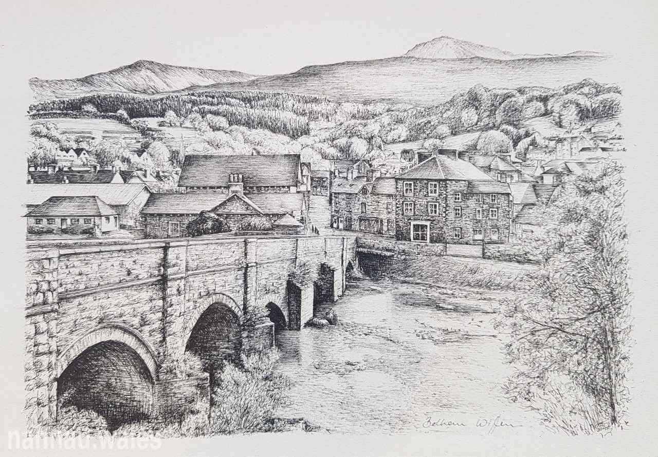 Y Bont Fawr and Dolgellau (Drawing by Bethan Rowlands Wiffen)