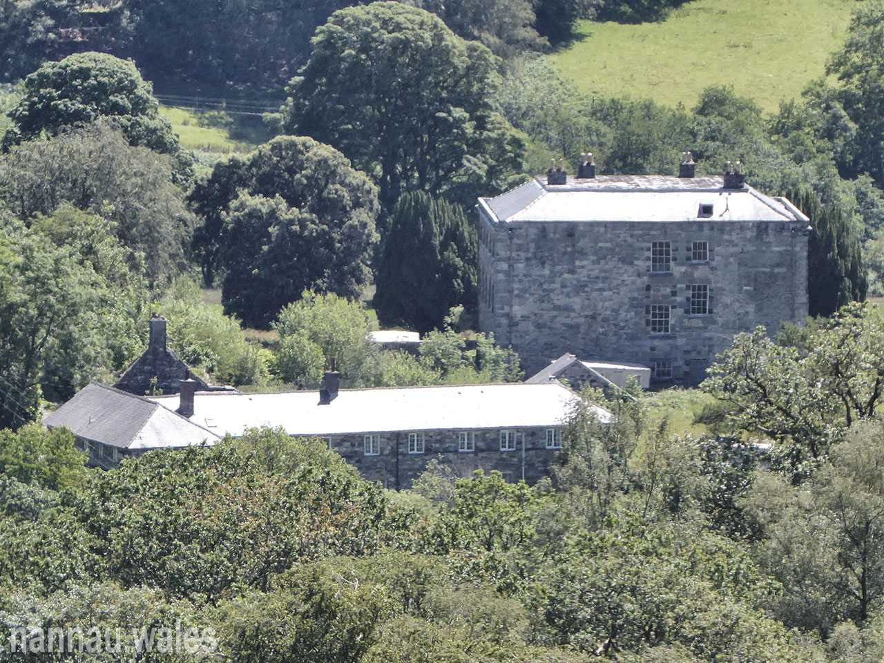 Plas Nannau Hall and the Coach House from Foel Cynwch Rock Cannon Position