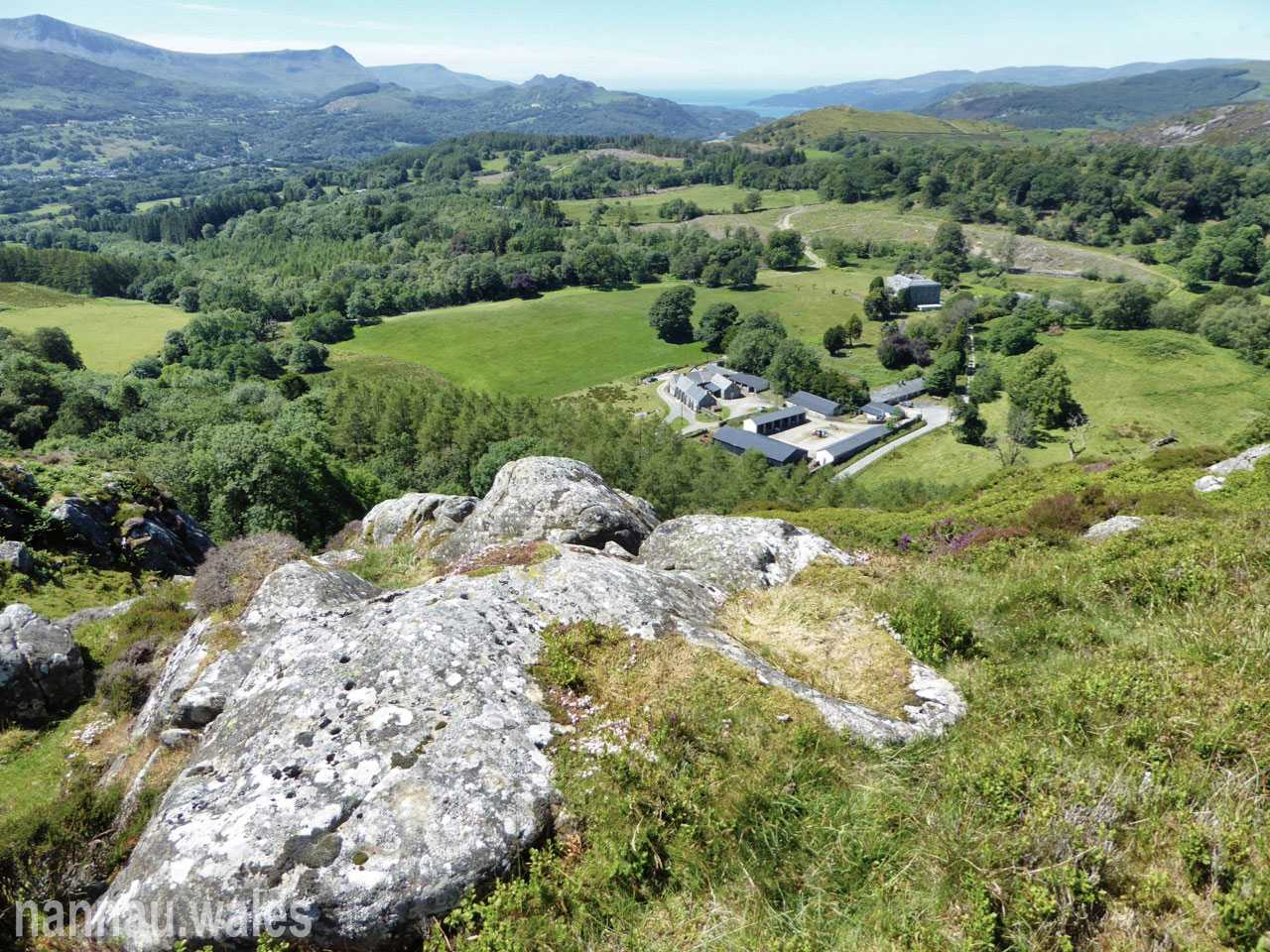 Foel Offrwm Rock Cannon with Plas Nannau Hall and Nannau Home Farm