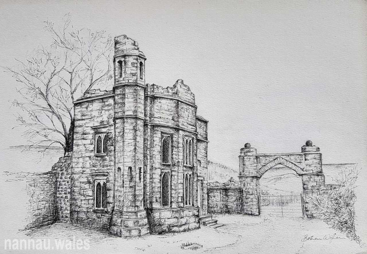Hywel Sele Lodge (Drawing by Bethan Rowlands Wiffen)