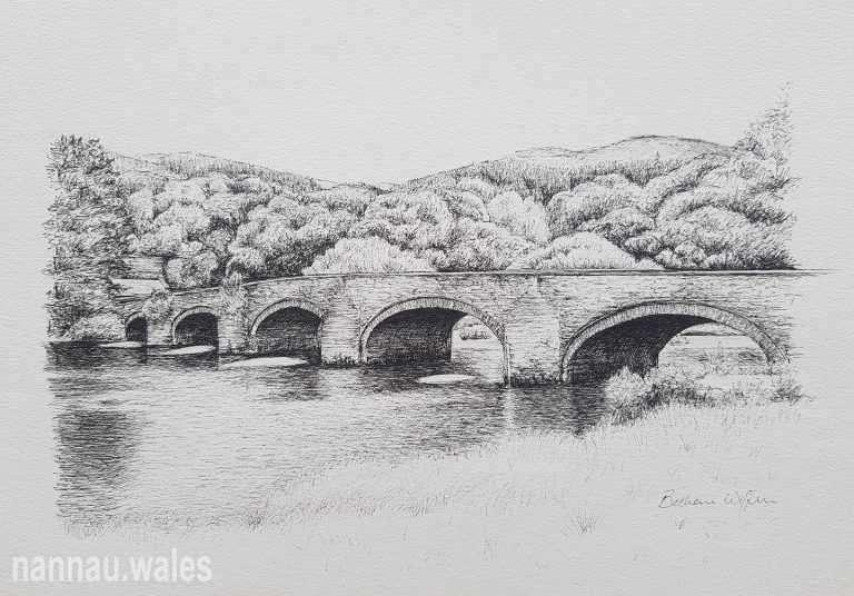 Llanelltyd Bridge (Drawing by Bethan Rowlands Wiffen)