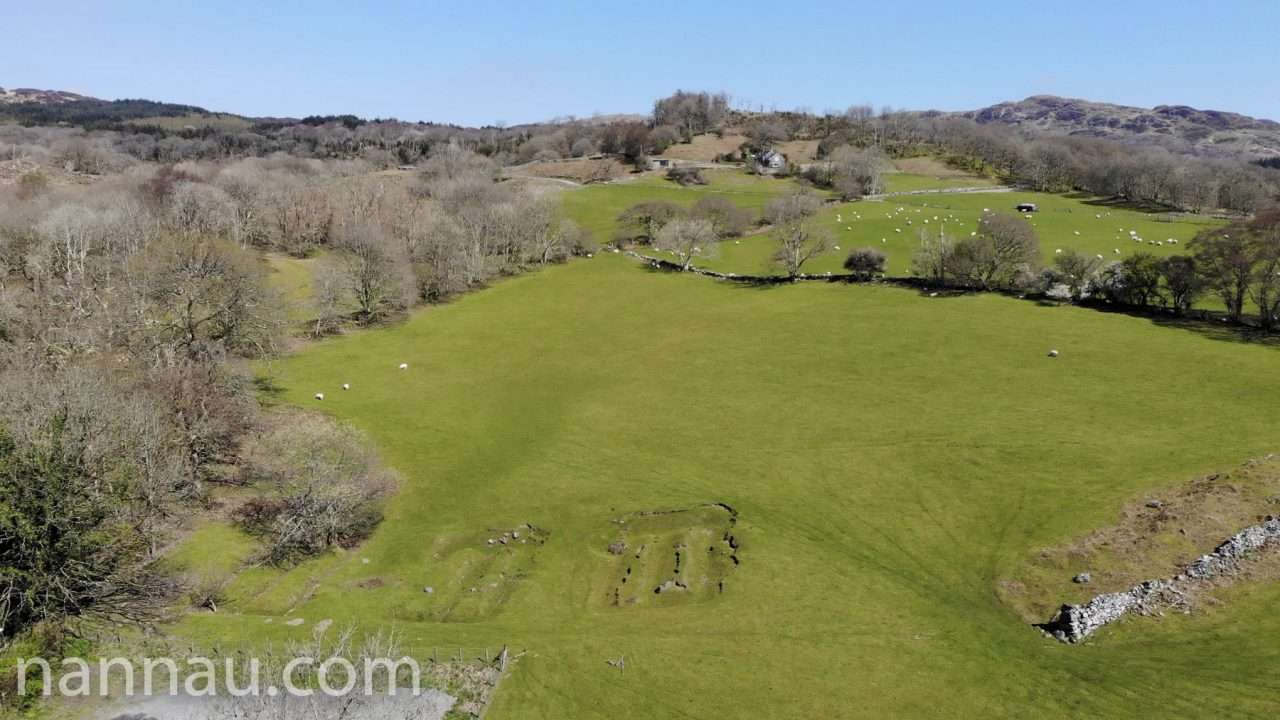 East of Llanfachreth (Drone). The mounds are old footings for houses that were never built