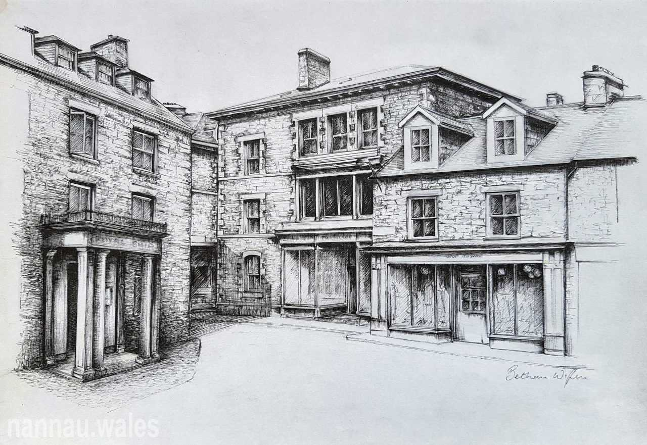 Llys Owain, Queen's Square, Dolgellau (Drawing by Bethan Rowlands Wiffen)
