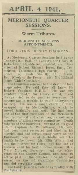 Robert Vaughan Obituary from the Merioneth Quarter Sessions 1941.