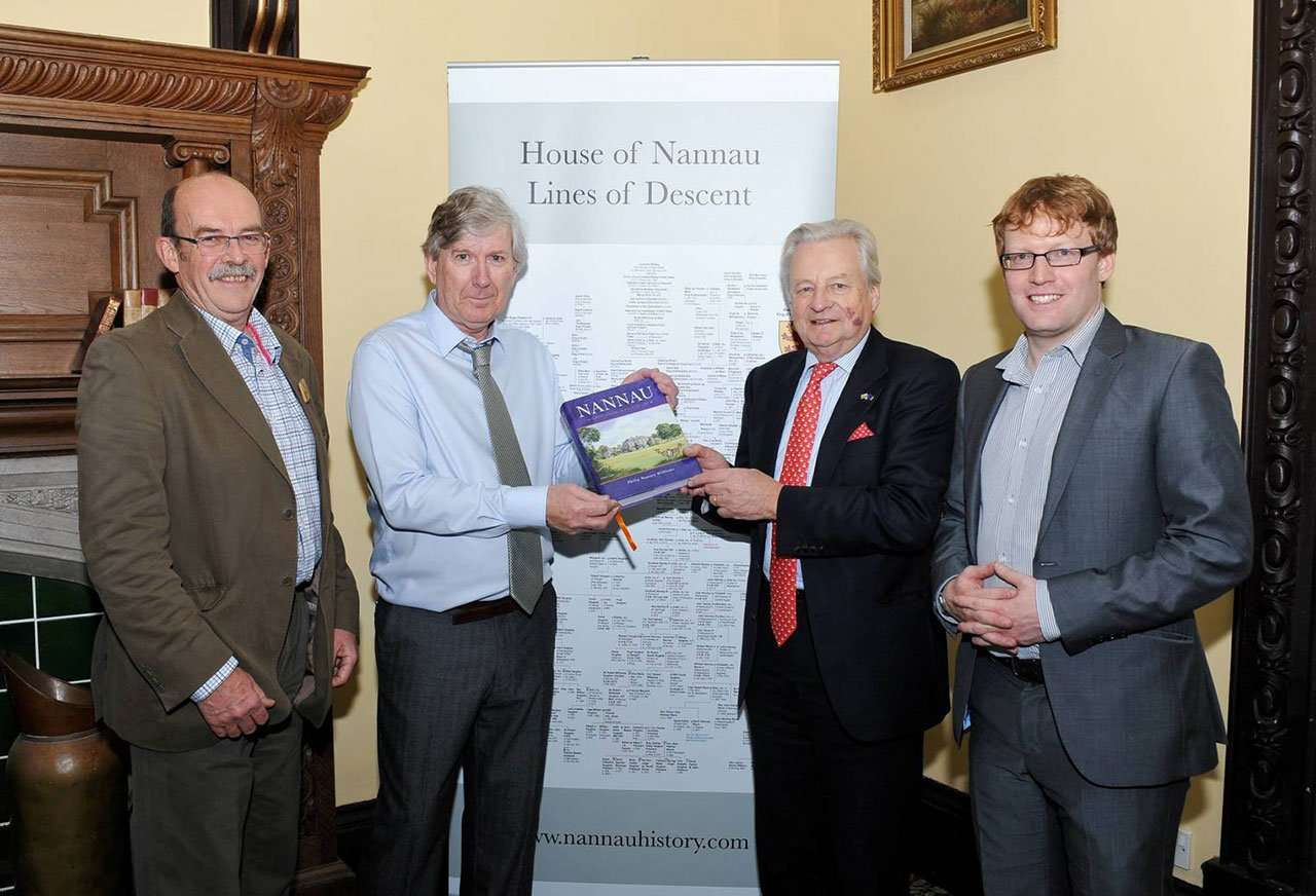 Left to Right: Peter Ogden (Director of the CPRW) - Philip Nanney Williams - Lord Dafydd Elis-Thomas and Dr Shaun Evans of the Institute for the Study of Welsh Estates at Bangor University