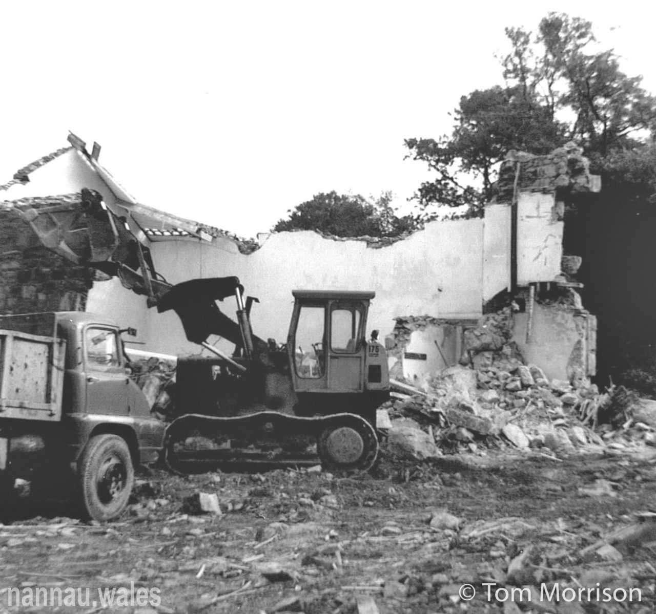 Plas Nannau Hall - The Demolition of the Pavilion Wings. Photo © Tom Morrison