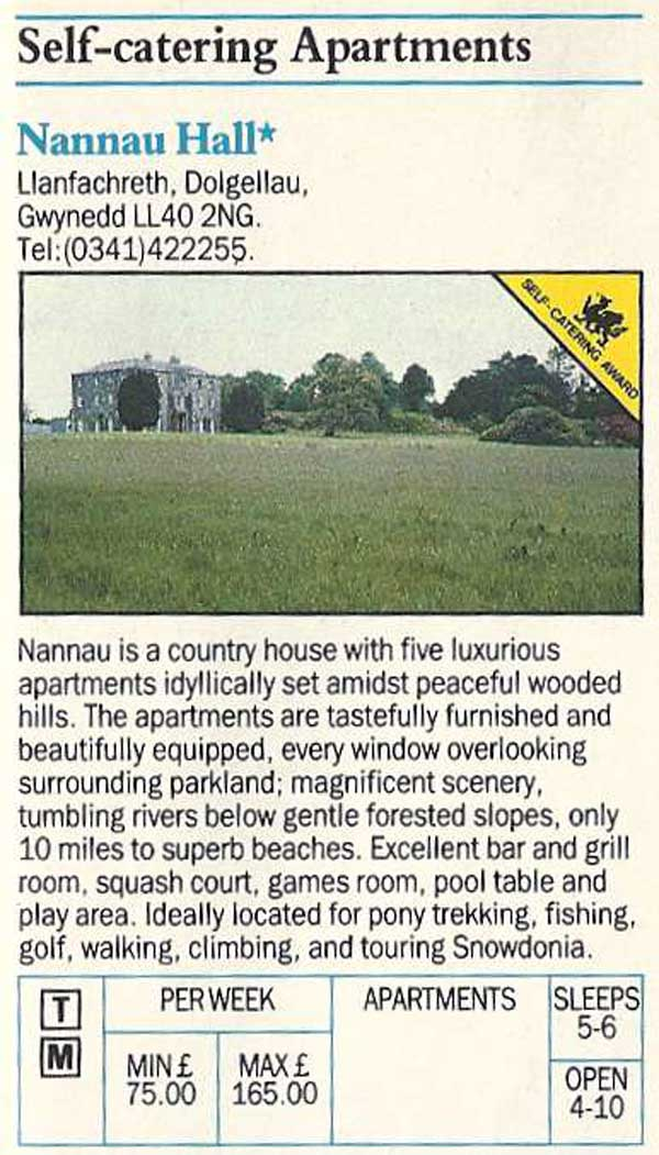 Nannau Hall Advert from 1984