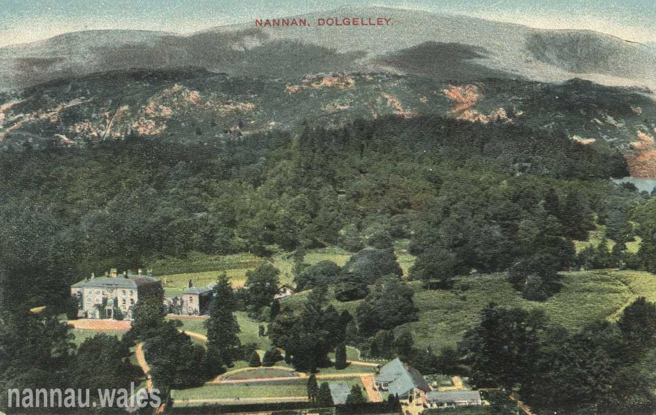 Nannau Postcard from Foel Offrwm (Showing the Greenhouse and Sunken Garden)