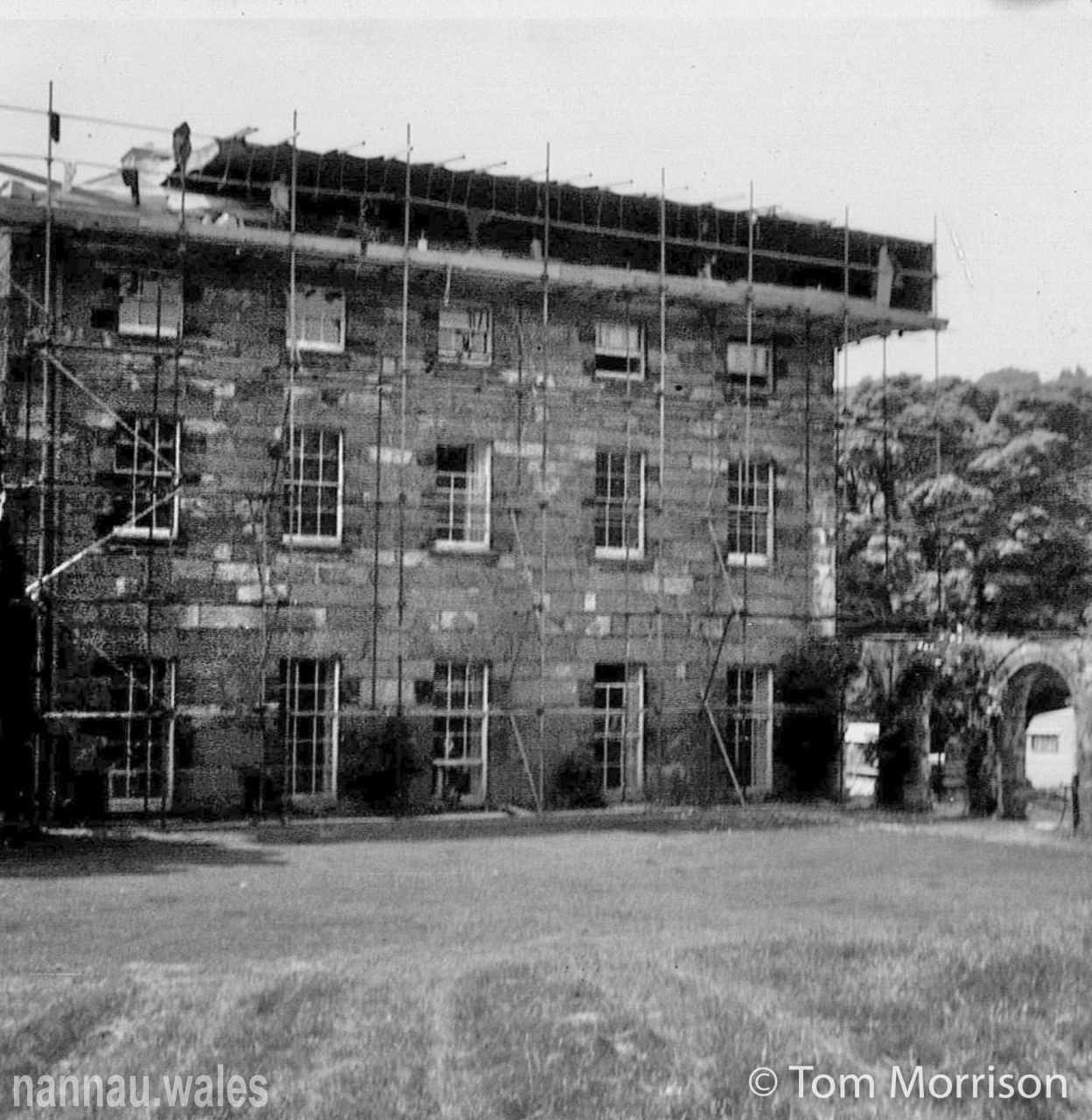 Plas Nannau Hall - Roof Reconstruction c.1970. Photo © Tom Morrison