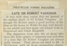 Robert Vaughan Obituary from the Prestwood Parish Magazine, 1941.