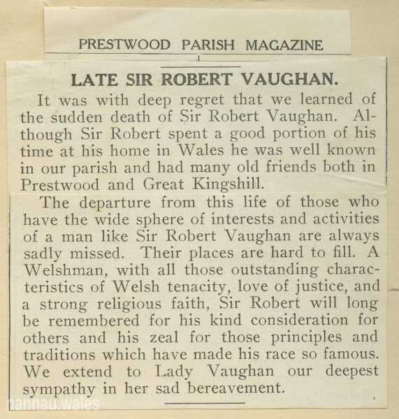 Robert Vaughan Obituary from the Prestwood Parish Magazine, 1941.