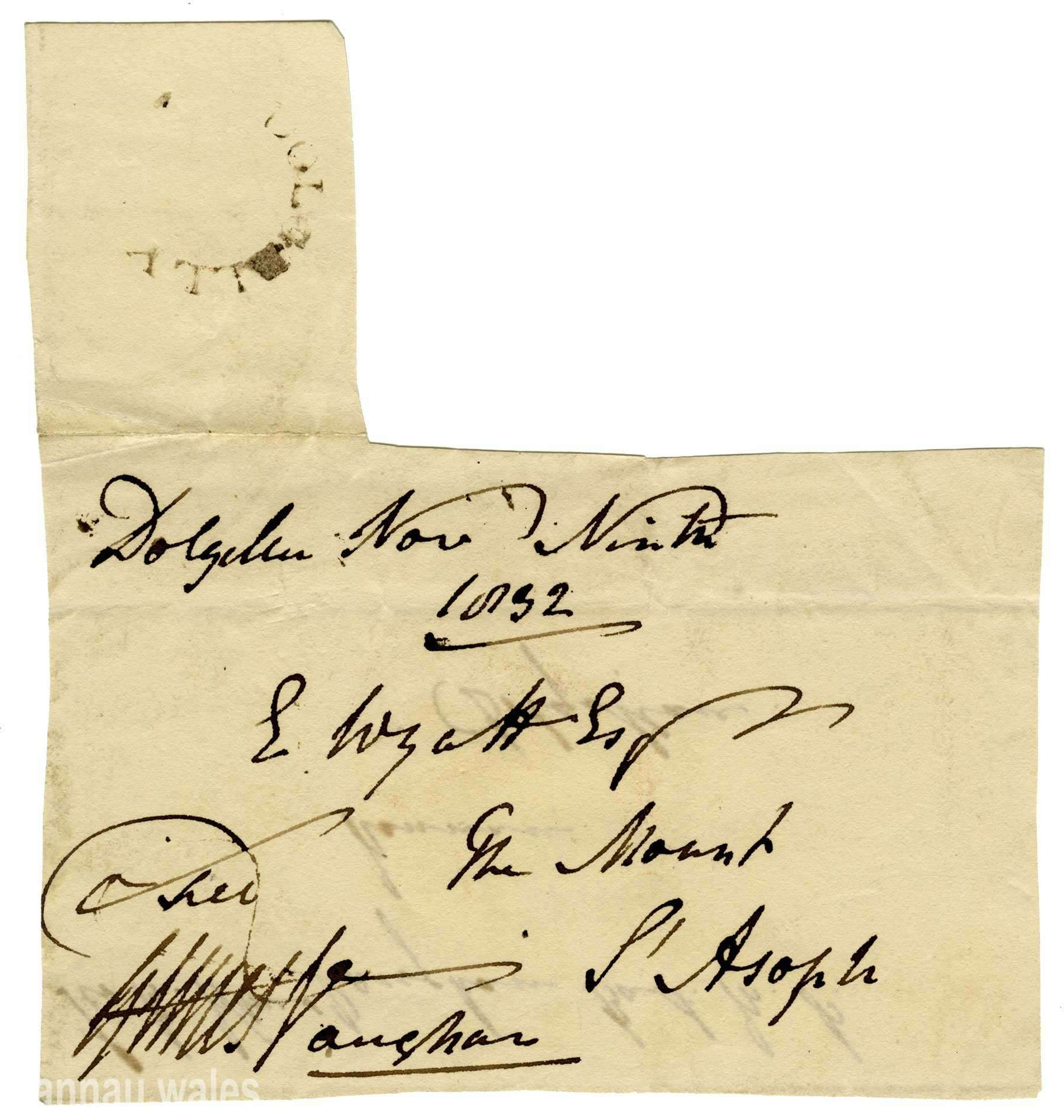 A Signed Envelope by Robert Williams Vaughan, 2nd Baronet (1768-1843). Letter dated 9th November 1832.