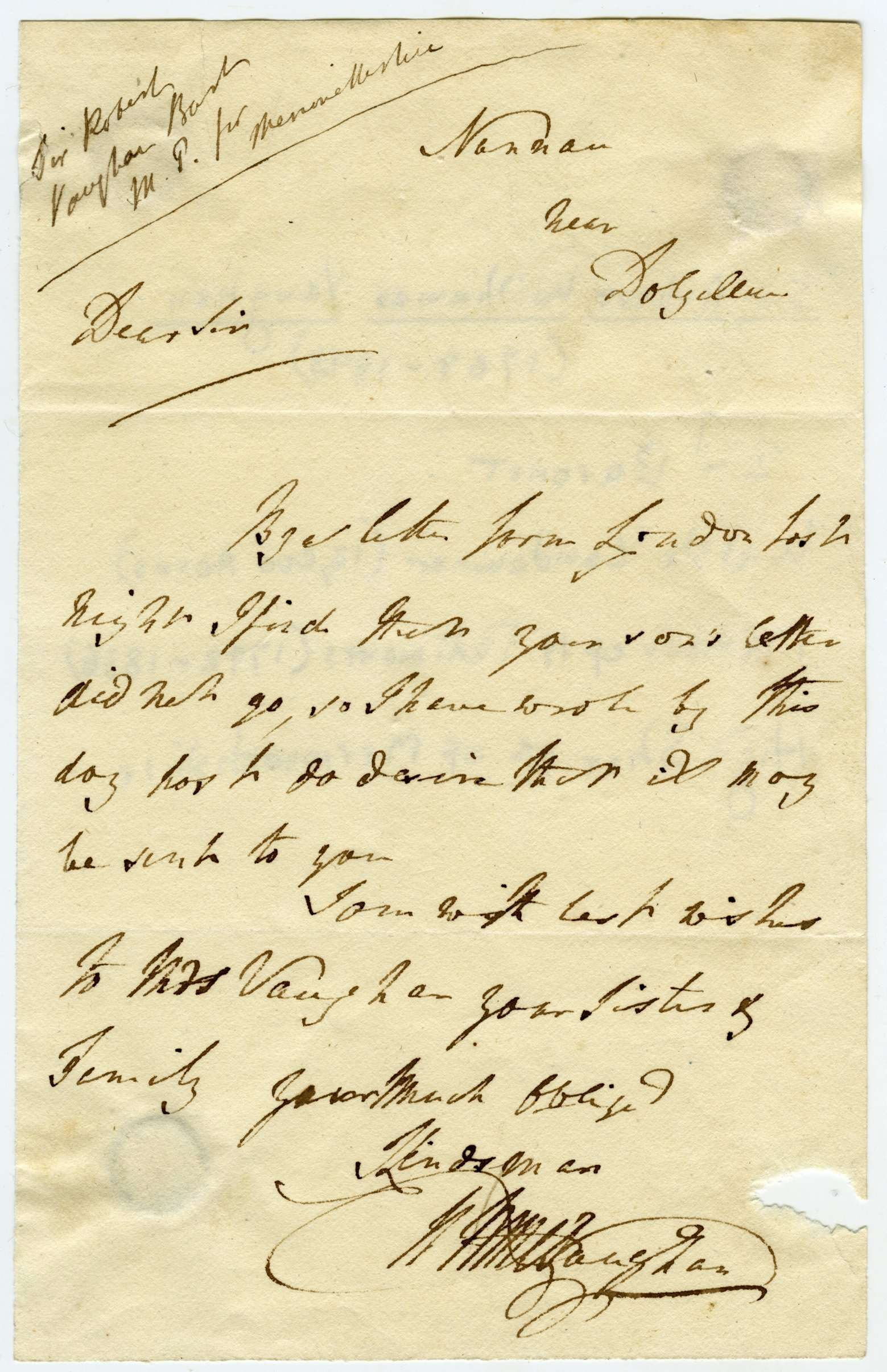 A Letter from Sir Robert Williames Vaughan