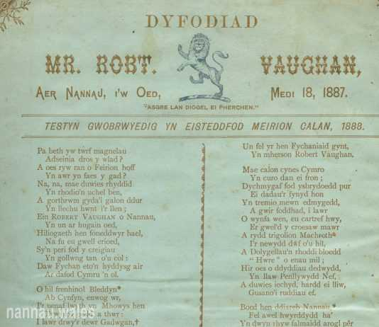 Robert Vaughan of Garthmaelan. Coming of Age Leaflet from 1887.