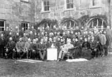 Robert Vaughan of Garthmaelan. Coming of Age Presentation from the Villagers of Llanfachreth and the Nannau Estate Workers. Outside Plas Nannau Hall in 1887. Photo © Philip Nanney Williams.