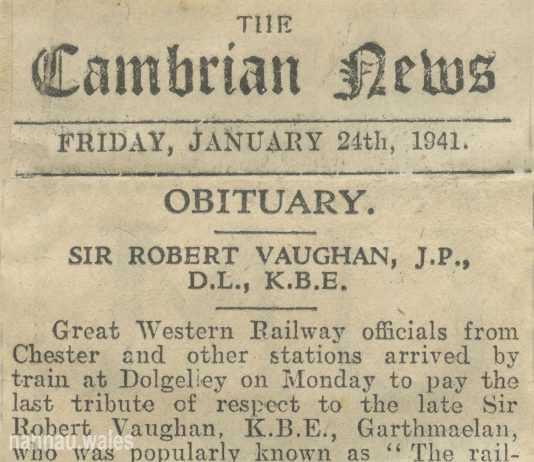 Robert Vaughan of Garthmaelan. Obituary Newspaper Clippings from 1941.