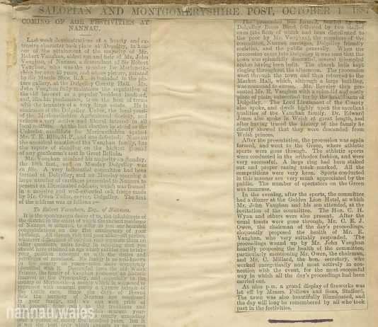 Sir Robert Vaughan - Salopian And Montgomeryshire Post, October 1, 1887.