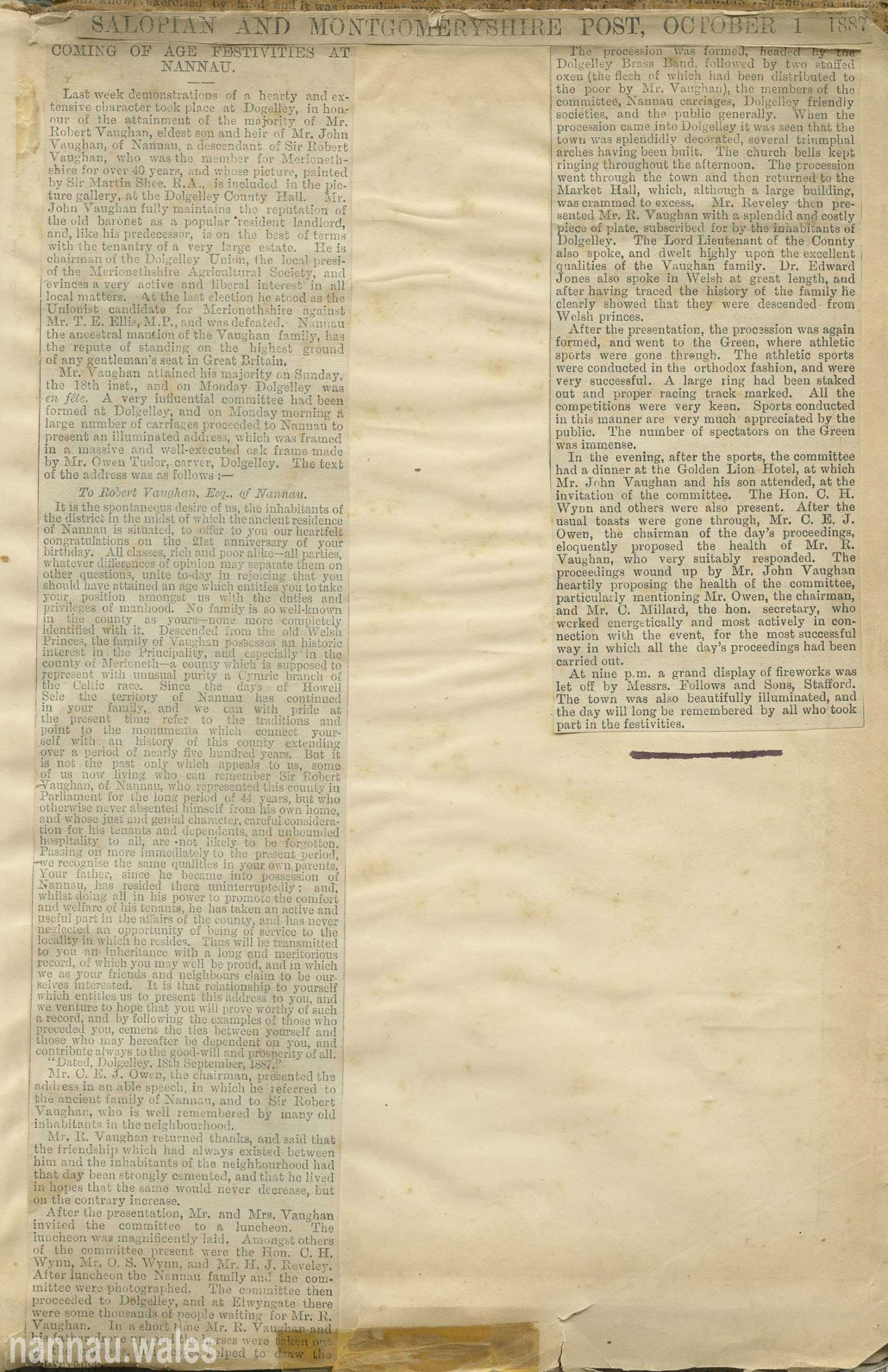 Mr. Robert Vaughan - Salopian And Montgomeryshire Post, October 1, 1887.