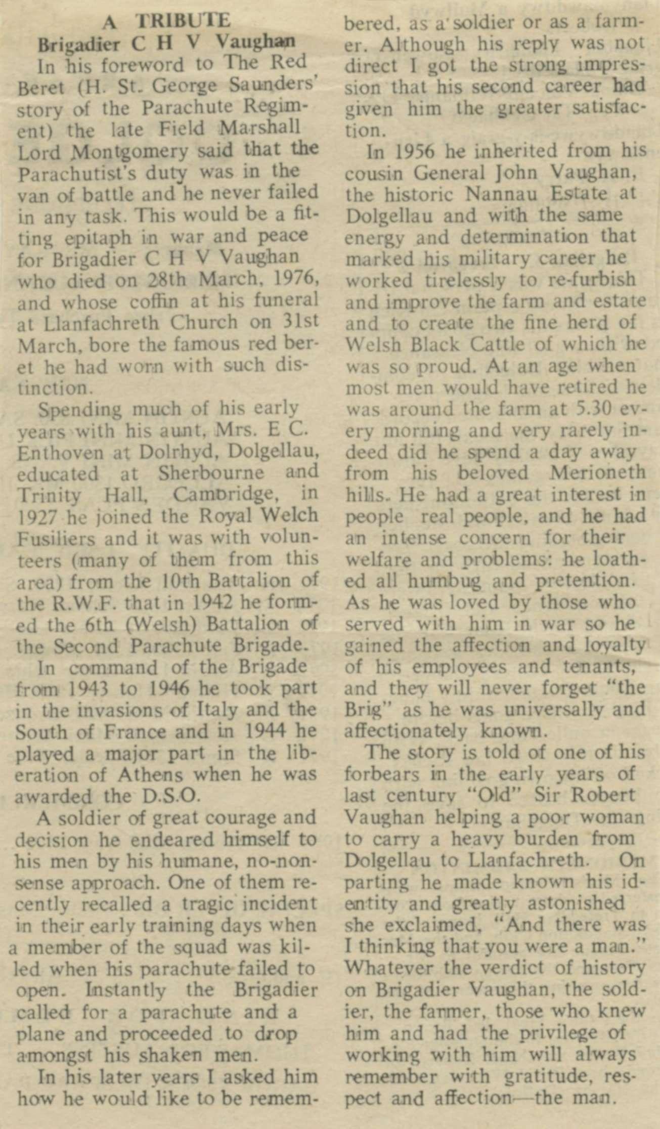 Newspaper Tribute to Brigadier C.H.V. Vaughan of Nannau