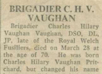 Newspaper Tribute to Brigadier C.H.V. Vaughan of Nannau in 1976. Courtesy of Philip Nanney Williams