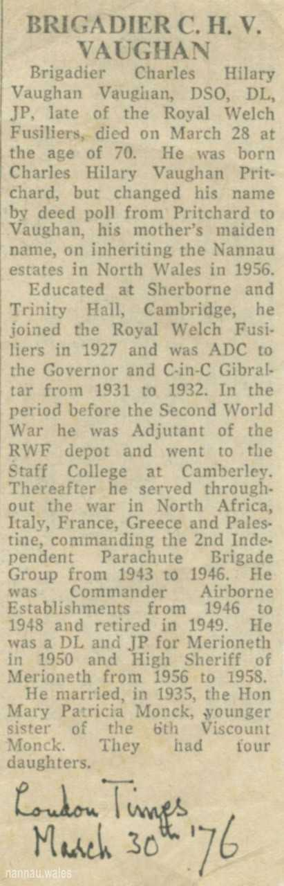 Newspaper Tribute to Brigadier C.H.V. Vaughan of Nannau in 1976. Courtesy of Philip Nanney Williams